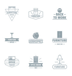 Office work logo set simple style vector