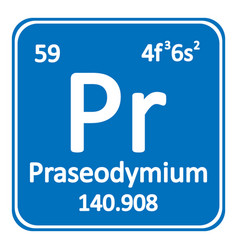 periodic table element praseodymium icon vector image
