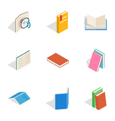 reading icons isometric 3d style vector image