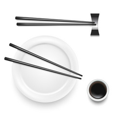 Realistic 3d detailed asian food chopsticks set vector