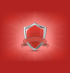 Red shield with ribbon vector