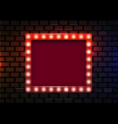 retro light sign on brick background vintage vector image