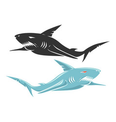 Retro logo with shark vector