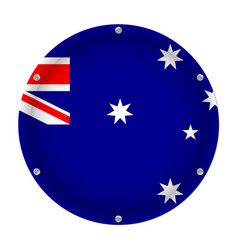 round metallic flag of australia with screws vector image