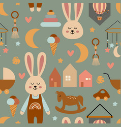 Seamless pattern with cute hare vector