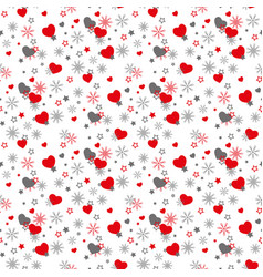 seamless romantic pattern with hand drawn hearts vector image