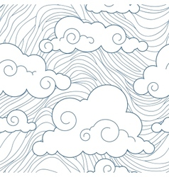 Seamless stylized clouds pattern vector image