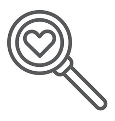searching for love line icon amour and lens vector image