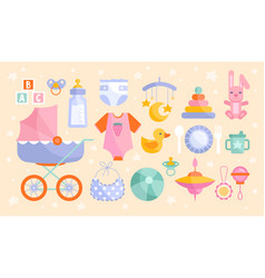 Set baby goods icons in muted colors vector