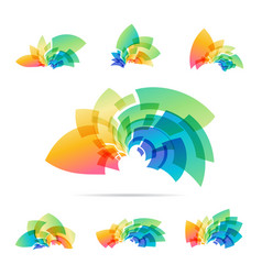 set logotype colorful abstraction sign vector image