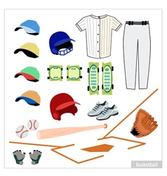 Set of Baseball Equipment on White Background vector image