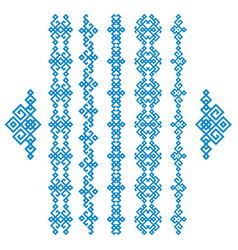 Set of blue ethnic geometrical borders isolated vector