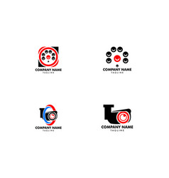 set of cctv security logo template design vector image