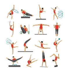 set of people in sport gymnastic positions vector image