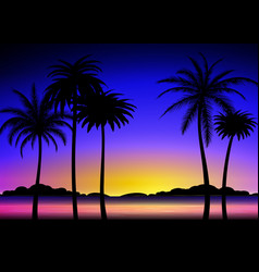 Silhouette of palms on tropical sunset vector