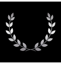 Silver laurel wreath icon 2 vector