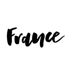 Slogan france hand drawn lettering european vector