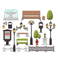 street decor bench and streetlight bush and fence vector image