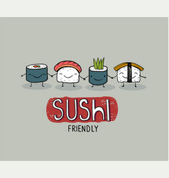 sushi friendly cute cartoon poster vector image
