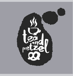 Tea and pretzel in a speech bubble vector