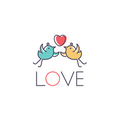 template icon birds in love vector image