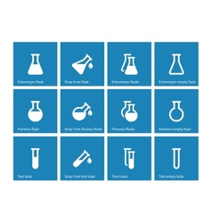 Test tube and flask icons on blue background vector