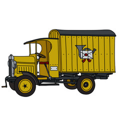 The vintage yellow post truck vector