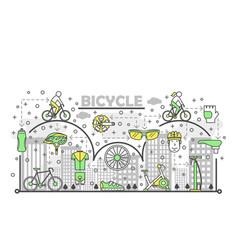 Thin line art bike poster banner template vector