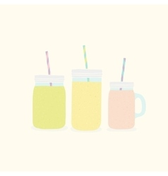 Three different mason jars with smoothies vector