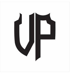 Vp logo shield style monogram design template on vector