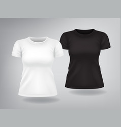 White and black woman t-shirts with short sleeves vector