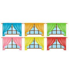 Windows with different color curtains vector