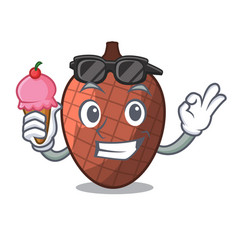 with ice cream cartoon fruit mauritia flexuosa of vector image