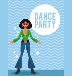 woman dance party vector image