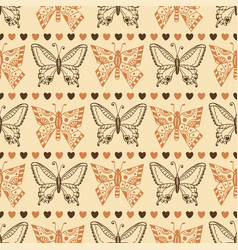 Zentangle butterfly pattern autumn seamless vector