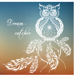 dream catcher owl sunset background vector image