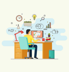 man doing job or working at desk with computer vector image