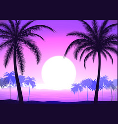 palm trees on pink gradient tropical sunrise vector image vector image