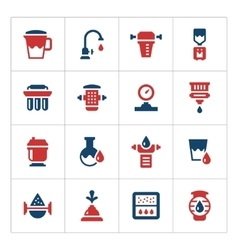 Set color icons of water filters vector image