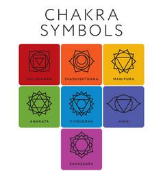 set of seven chakra symbols with names vector image