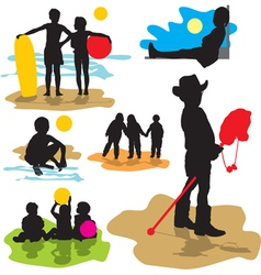 set silhouettes childhood vector image vector image