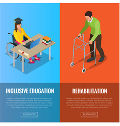 disabled people banners with wheelchair and vector image vector image