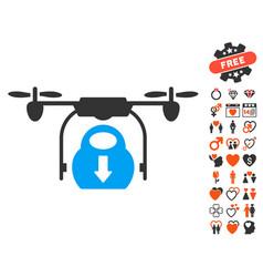 drone drop cargo icon with love bonus vector image