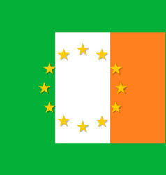ireland national flag with a star circle of eu vector image