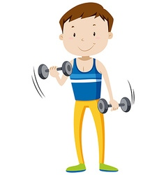 Strong man lifting weights vector image