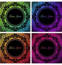 Bright colorful neon doodle circle frame vector image