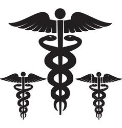 Caduceus medical signs set vector