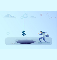 business man run to dollar sign falling in hole vector image