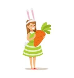 Girl In Rabbit Costume Holding Giant Carrot vector image vector image