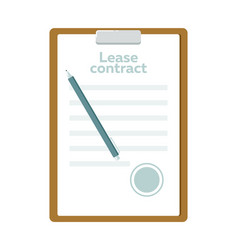 lease contract with pen icon vector image vector image